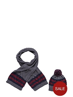 boys-chunky-striped-knit-scarf-and-bobble-hat-set-2-piece