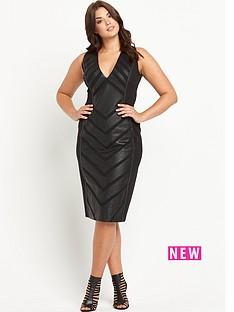 forever-unique-curve-roz-pu-panelled-midi-dress