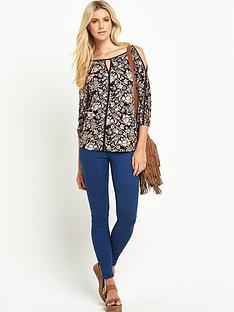 south-printed-cut-out-shoulder-jersey-top