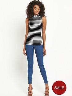 south-stripe-turtle-neck-sleeveless-jersey-top