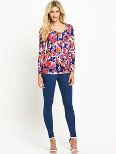 south-printed-long-sleeved-pleat-front-jersey-top