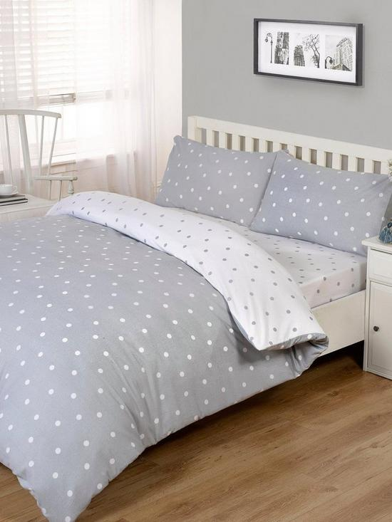 7c7a6f67b42f Brushed Cotton Printed Spot Duvet Cover Set   very.co.uk