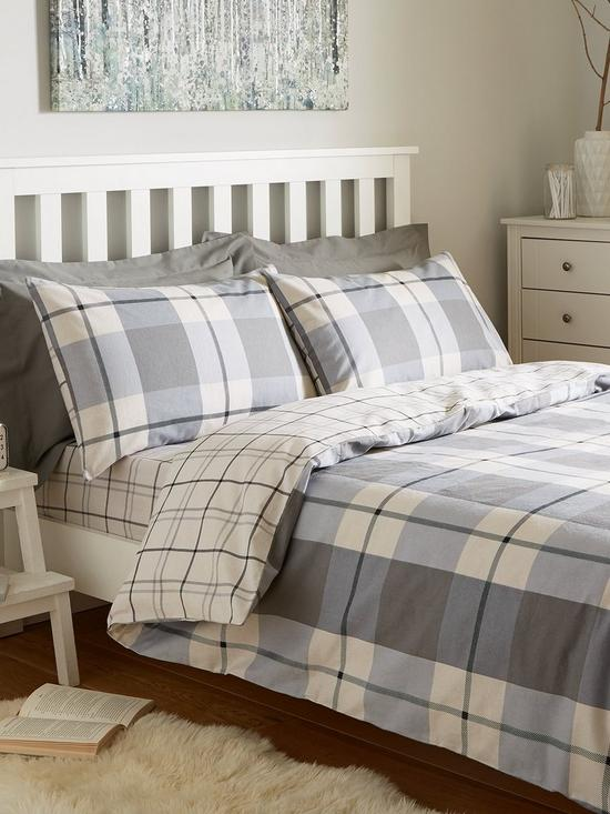 Brushed Cotton Check Duvet Cover Set Very Co Uk