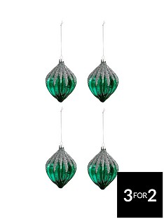laurence-llewelyn-bowen-peacock-sparkle-glass-glitter-baubles-set-of-4