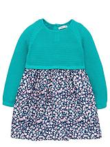TODDLER GIRLS PRETTY KNITTED DRESS WITH WOVEN FLORAL SKIRT 1-7 YEARS