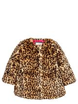 Girls Fashion Leopard Faux Fur Coat - 12 months - 7 years