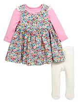 Baby Girls Floral Dress, T-Shirt & Tights Set (3 Piece)