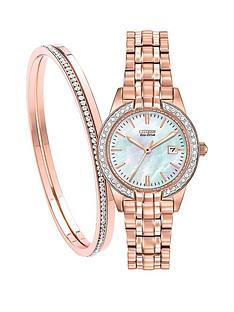 citizen-citizen-eco-drive-039silhouette-crystal039-rose-gold-colour-stainless-steel-ladies-gift-set