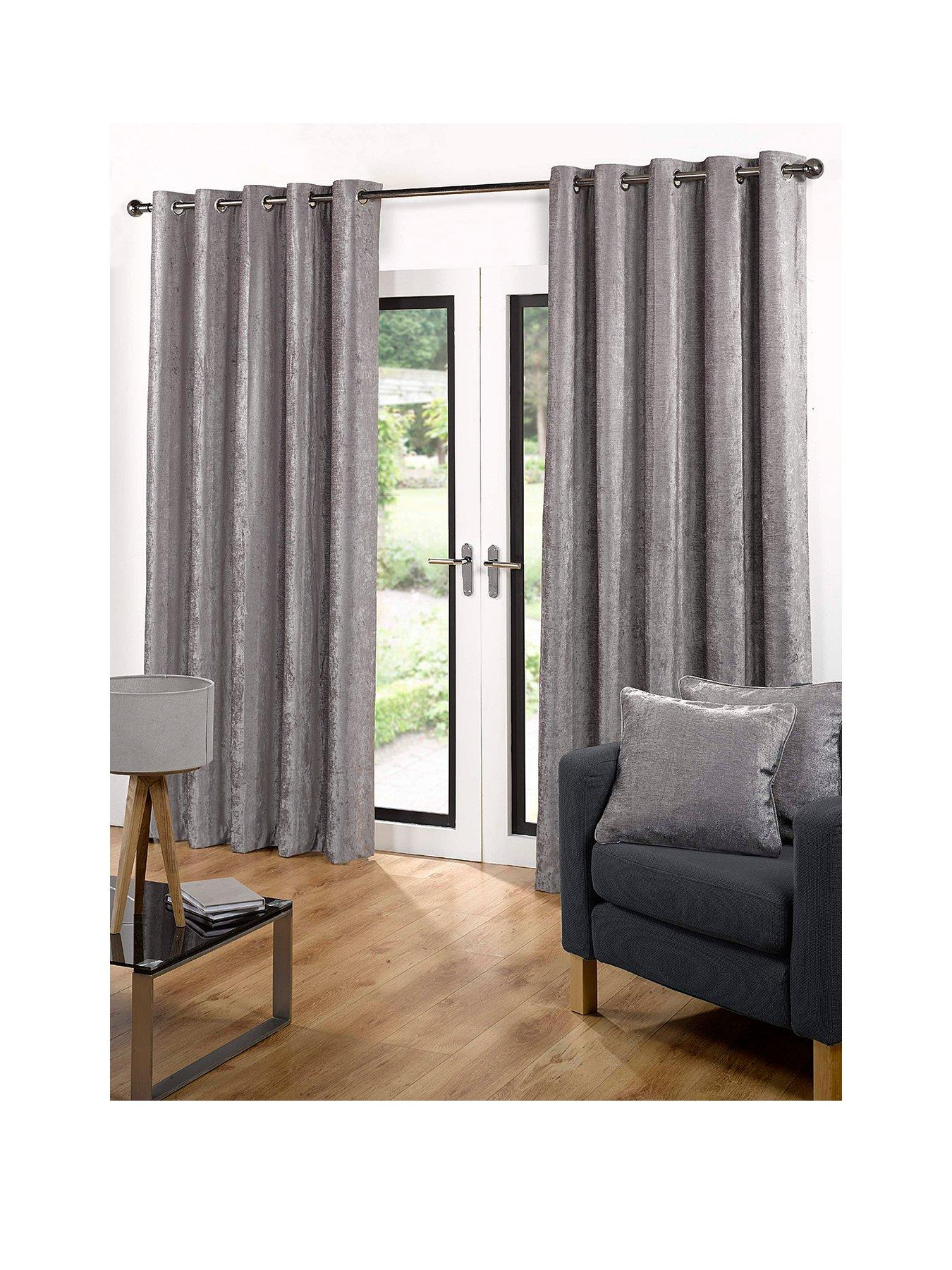 Luxe Collection Luxury Soft Velour Eyelet Curtains   Very.co.uk