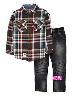 ladybird-boys-check-shirt-amp-jeans-set-2-piece