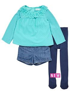 ladybird-girls-dobbynbsptop-denim-shorts-and-tights-set-3-piece-12-months-7-years