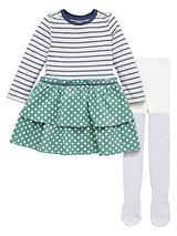 Girls Stripe and Spot Dress with Tights Set (2 Piece_ - 12 months - 7 years