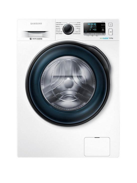 WW80J6410CW/EU 8kg Load, 1400 Spin Washing Machine with ecobubble™  Technology and 5 Year Samsung Parts and Labour Warranty - White