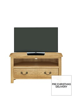 Luxe Collection - London Oak Ready Assembled Corner TV Unit - fits up to 40 inch TV