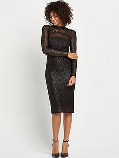 wallis-black-lace-shimmer-dress