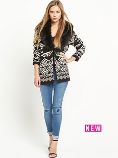 miss-selfridge-fauxnbspfur-collar-cardigan