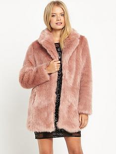 miss-selfridge-pink-faux-fur-coat