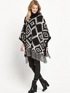 vila-vierikanbspfringed-hem-knit-poncho