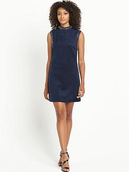 V by Very Stud High Neck Suedette Dress