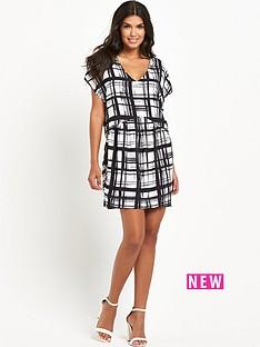 vila-printed-v-neck-dress
