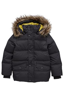 Name It Boys FauxFur Hooded Down Filled Jacket - Grey