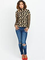 Heart Leopard High Neck Jumper
