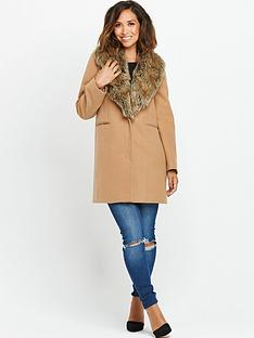 myleene-klass-camel-faux-fur-collar-coat
