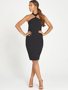 rochelle-humes-bodycon-dress-with-halter-neck