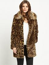 Faux Fur Coat With Collar