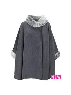 faux-fur-fleece-cape-grey