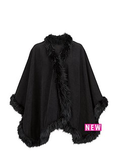 premium-cape-with-faux-fur-trim-black