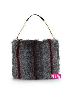 faux-fur-slouch-shoulder-bag-grey