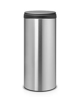 brabantia-30-litre-fingerprint-proof-flip-bin-with-dark-grey-plastic-lid