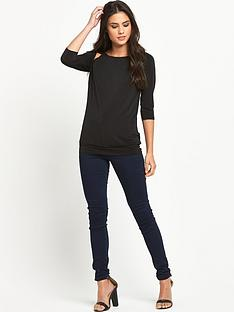 definitions-three-quarter-sleeve-drape-back-top