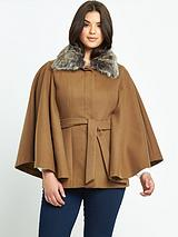 Faux Fur Collar Belted Cape