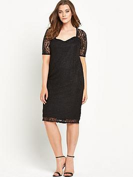 v by very curve sweetheart neck half sleeve lace midi dress