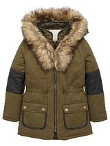 Girls PU Panel Parka with Faux Fur Hood