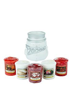 fun-outside-snowman-votive-holder-with-5-votives-1-x-berry-trifle-1-x-angels-wings-1-x-cosy-by-the-fire-1-x-sugared-apple-1-x-christmas-memories
