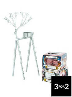 yankee-candle-silver-reindeer-tea-light-holder-with-2-boxes-of-classic-festive-tealights