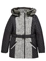 Girls Belted Quilted Coat with PU Trims