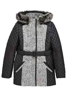 Freespirit Girls Belted Quilted Coat with PU Trims