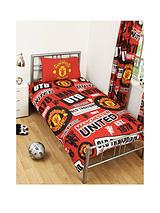 MUFC PatchDuvet Cover and Pillowcase Set in Single Size