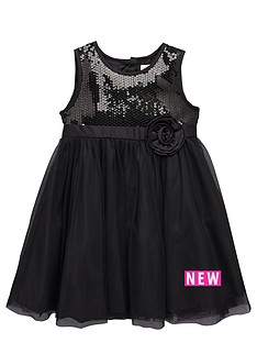 ladybird-toddler-girls-black-sequin-dress-with-large-corsage-1-7-years