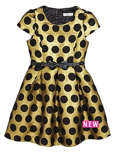 ladybird-girls-gold-and-black-spot-party-dress-12-months-7-years