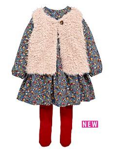 ladybird-toddler-girls-fur-gillet-floral-dress-amp-tight-set-1-7-years