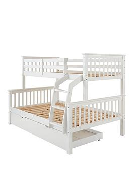 Novara Detachable Trio Bunk Bed In Pine, Grey Or White - Bed Frame Only