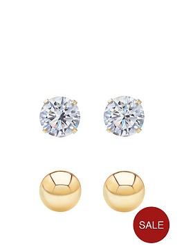 andralok-andralok-9-carat-yellow-gold-set-of-two-3mm-ball-stud-and-3mm-cubic-zirconia-stud-earrings