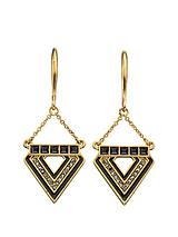 Blackened Gold Crystal And Resin Triangle Earrings