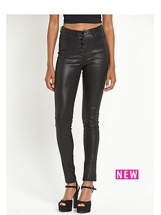 south-stevienbspvinyl-coated-high-waist-skinny-jeansnbsp