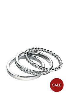 fiorelli-fiorelli-sterling-silver-set-of-3-clear-pave-cubic-zirconia-plain-and-rope-twist-effect-stacking-rings
